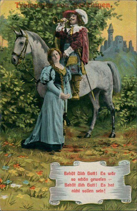 Ansichtskarte Bad Säckingen Trompeter von Säckingen Frau, Trompeter 1913