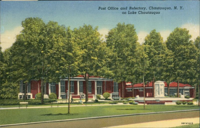 Postcard Chautauqua Chautauqua N.Y. Post Office and Refectory Lake 1951