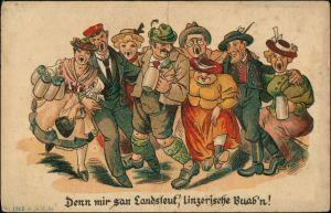 Scherzkarten: Alkohol, Trinkerei mir san Landsleut Linzerische Buabn 1919