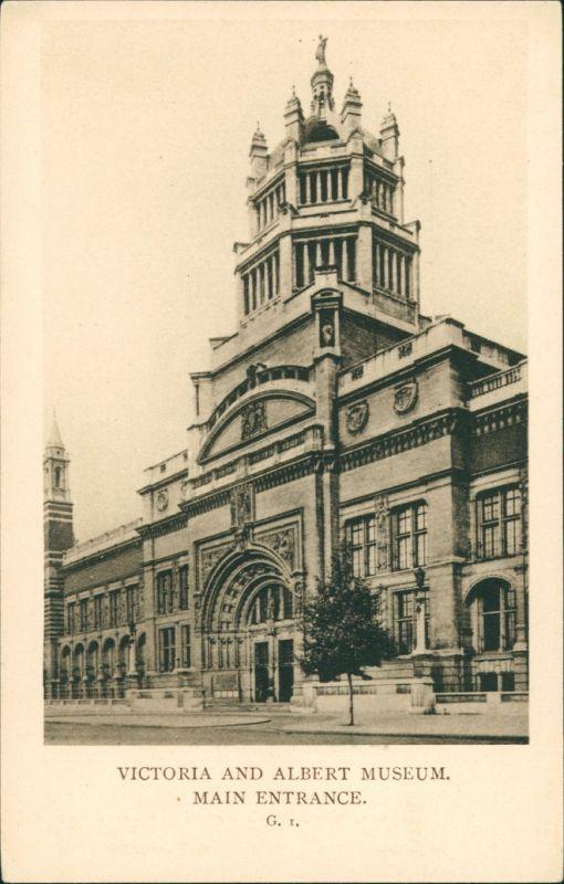 Postcard London Victoria and Albert Museum Main Entrance 1930