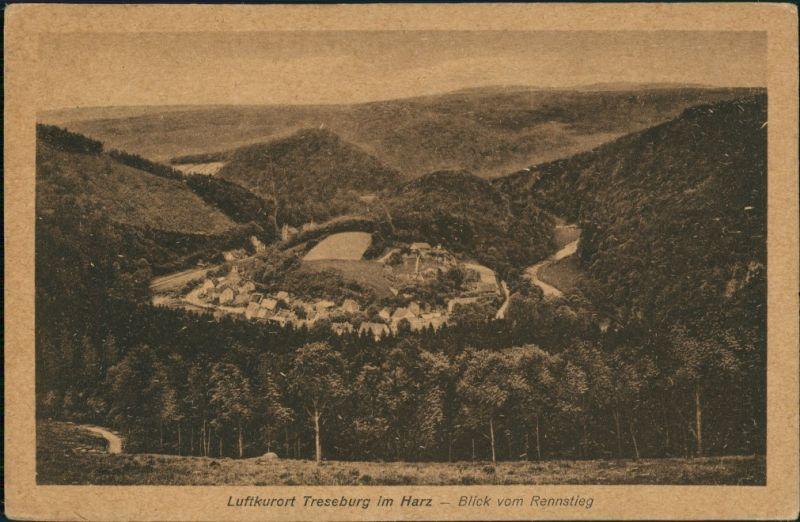 Treseburg Luftkurort Panorama Blick vom Rennsteig auf d. Ort 1920