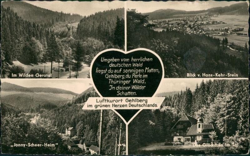 Gehlberg Mehrbild-AK DDR ua. mit Jonny-Scheer-Heim, Glöckchen im Tal uvm. 1961