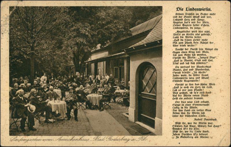 Ansichtskarte Bad Godesberg-Bonn Rückseite - Gasthof zur Lindenwirtin 1927