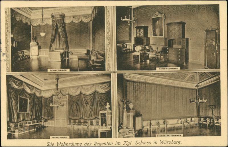Ansichtskarte Würzburg Residenzschloß - Zimmer des Regenten 1912