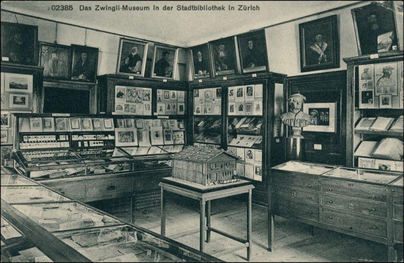 Ansichtskarte Zürich Das Zwingli Museum in der Stadtbibliothek 1911