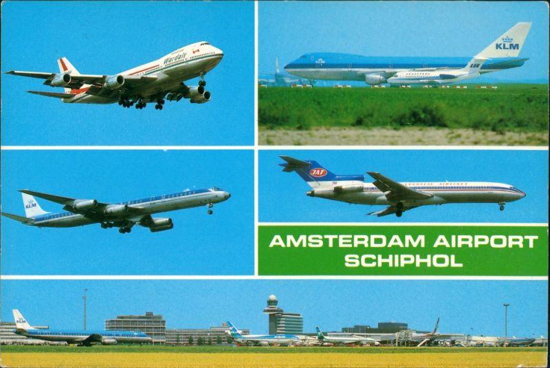 Postkaart Amsterdam Amsterdam Flughafen Schiphol KLM Flugzeuge MB 1986