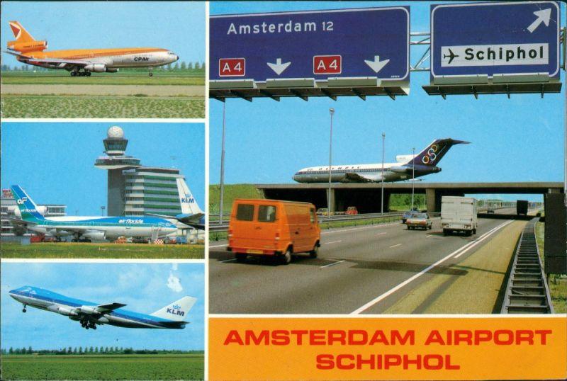 Postkaart Amsterdam Amsterdam Flughafen Schiphol, Flugzeuge Autobahn 1986