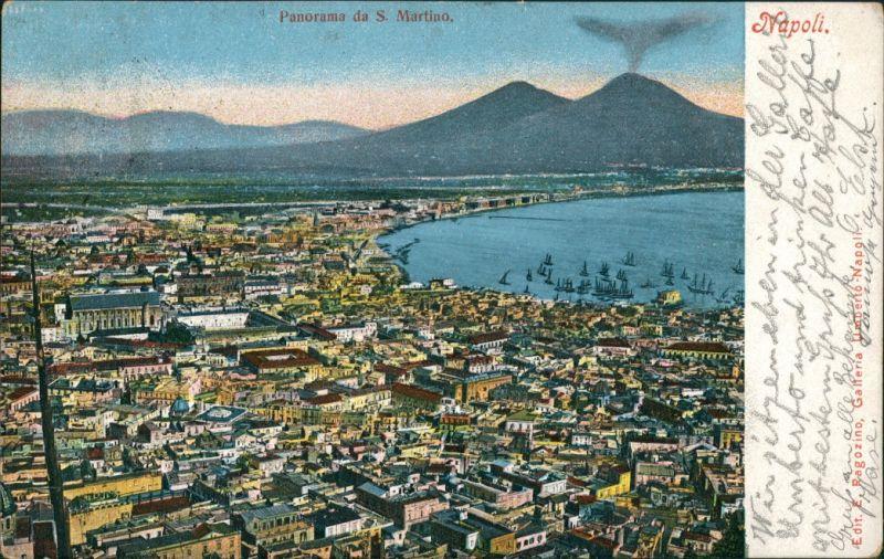 Neapel Napoli Neapel Vesuv Vesuvio Vesuvius Panorama Stadt Blick 1905   AK gelaufen nach Augsburg (mit Ankunftsstempel)