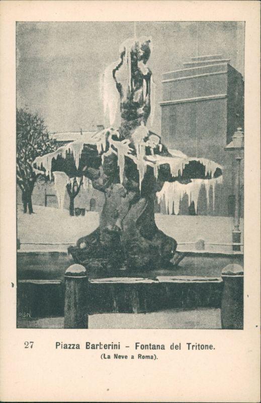 Cartoline Rom Roma Piazza Barberini Fontana del Tritone, Brunnen 1900