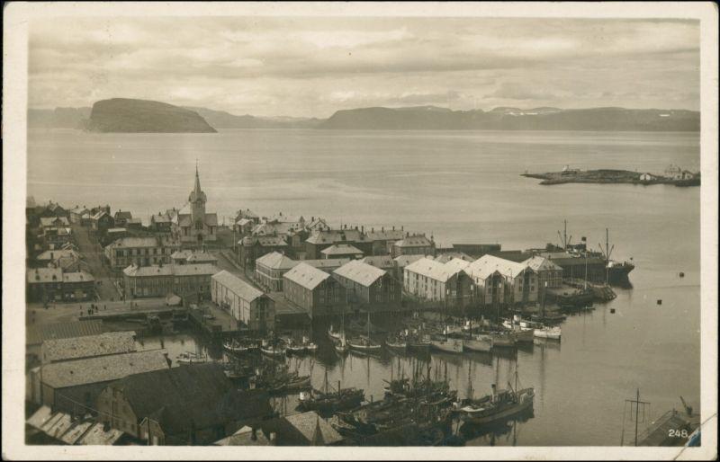 Postcard Hammerfest Blick auf Stadt und Hafen 1933