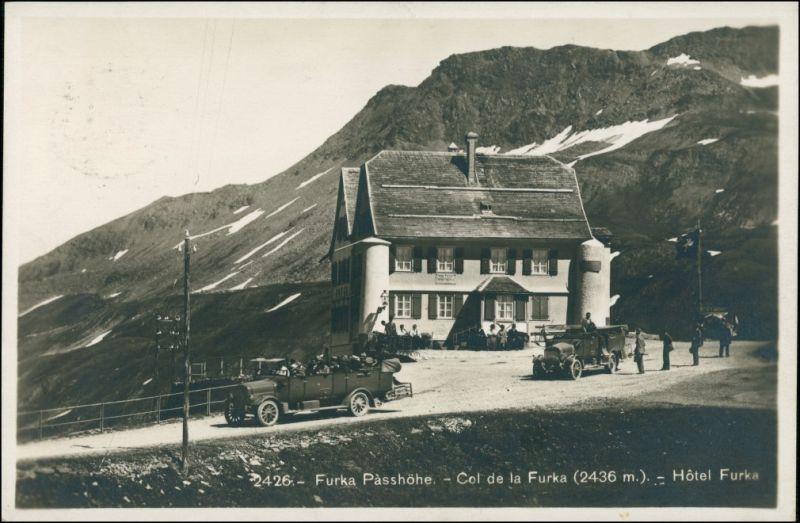 Ansichtskarte Oberwald-Obergoms Busse vor dem Furka Hotel 1929