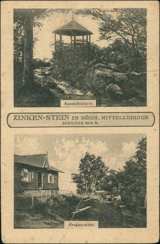 Wernstadt Verneřice  Zinkenstein 2B  Restauration b Tetschen Decin Böhmen 1923