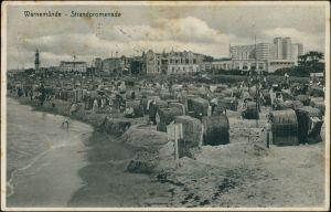 Ansichtskarte Warnemünde-Rostock Strandpromenade, Strandkörbe 1929