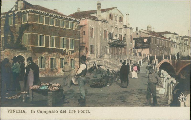 Venedig Venezia In Campasso dei Tre Ponti (coloriertes Foto) 1910