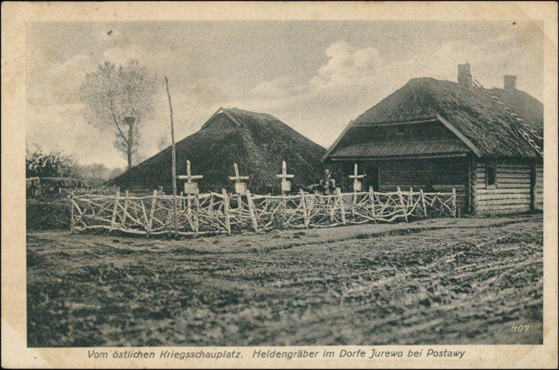 Postcard Pastawy Поставы, Postawy Dorf Jurewo (Witebesk) 1917