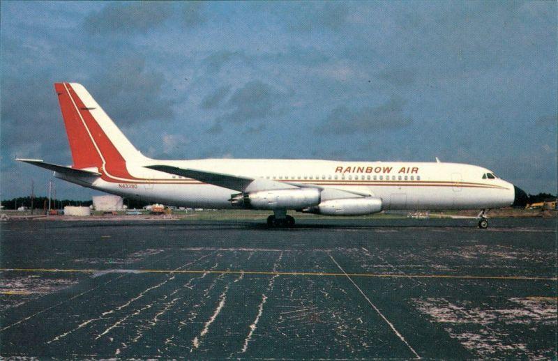 Postcard Orlando Convair CV880-22M-22 N4339D c/n 61 of RAINBOW AIR 1984
