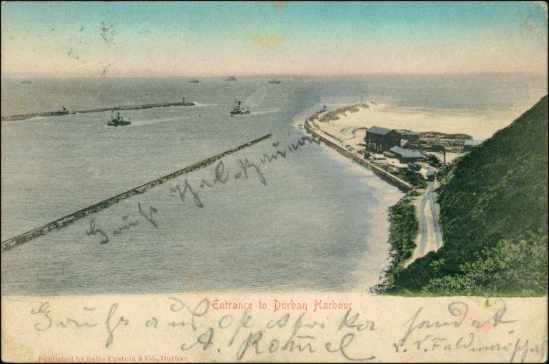Postcard Durban Hafen - Anlagen - Schiff 1905