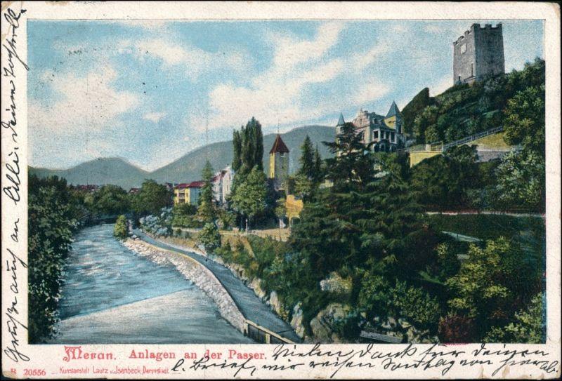 Cartoline Meran Merano Anlagen an der Passer 1904