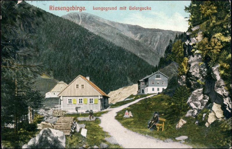 Postcard Harrachsdorf Harrachov Geiergucke Langegrund 1908