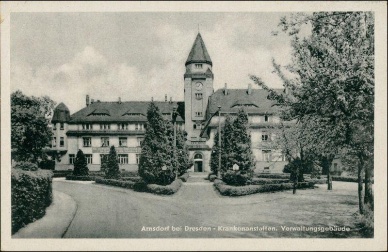Ansichtskarte Arnsdorf (Sachsen) Krankenhaus, Verwaltungsgebäude 1955