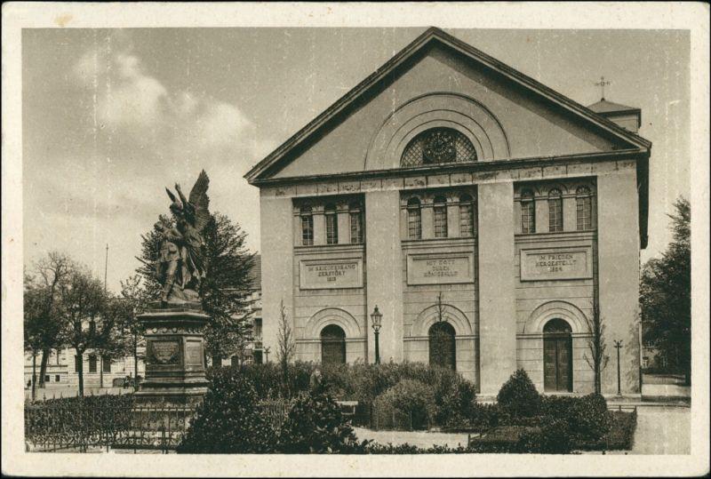 Ansichtskarte Neue Neustadt-Magdeburg Nicolaikirche und Kriegerdenkmal 1928