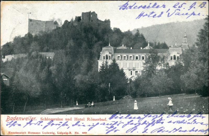 Badenweiler Burg Badenweiler Hotel Römerbad spielende Kinder 1903