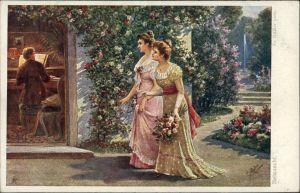 Künstlerkarte mit Frauen, Mann am Klavier, Wiener Künstler-Grüße 1910
