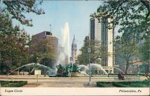 Philadelphia Downtown Philadelphia skyline as seen at Logan Circle 1982
