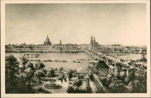 Innere Altstadt-Dresden Blick auf die Altstadt nach Hasse u. Williard (Kunst-AK) 1956