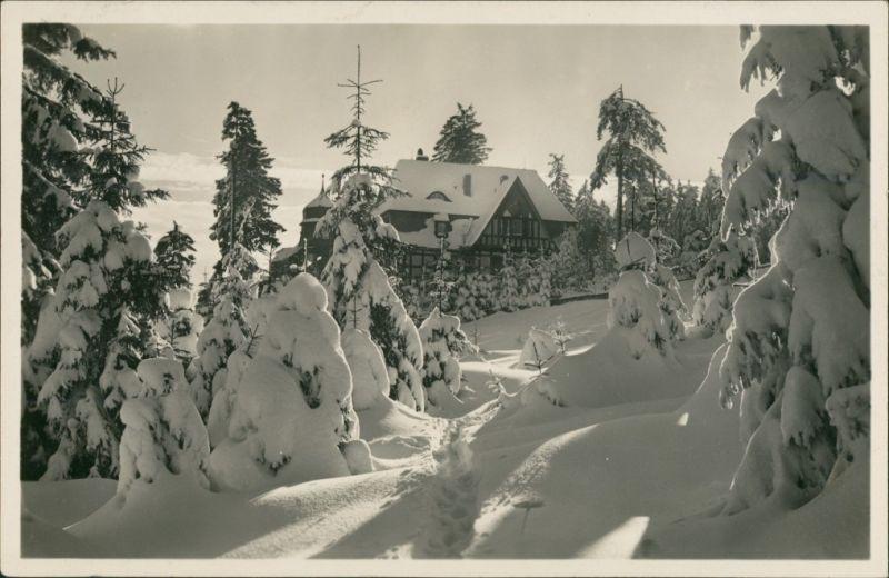 Oberhof (Thüringen) Thüringer Wald Haus 1933 AK gelaufen mit Stempel OBERHOF
