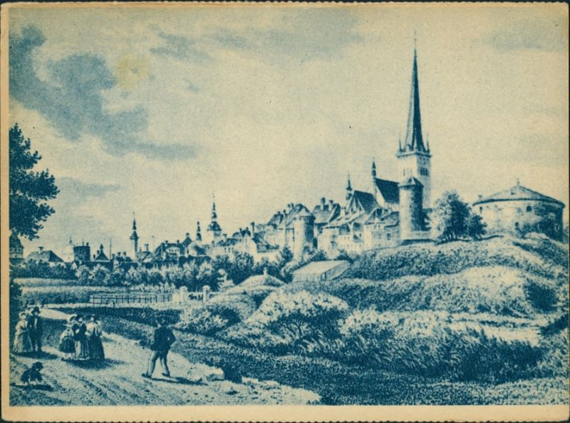 Postcard Reval Tallinn (Ревель) An der Stadt - Künstlerkarte 1942