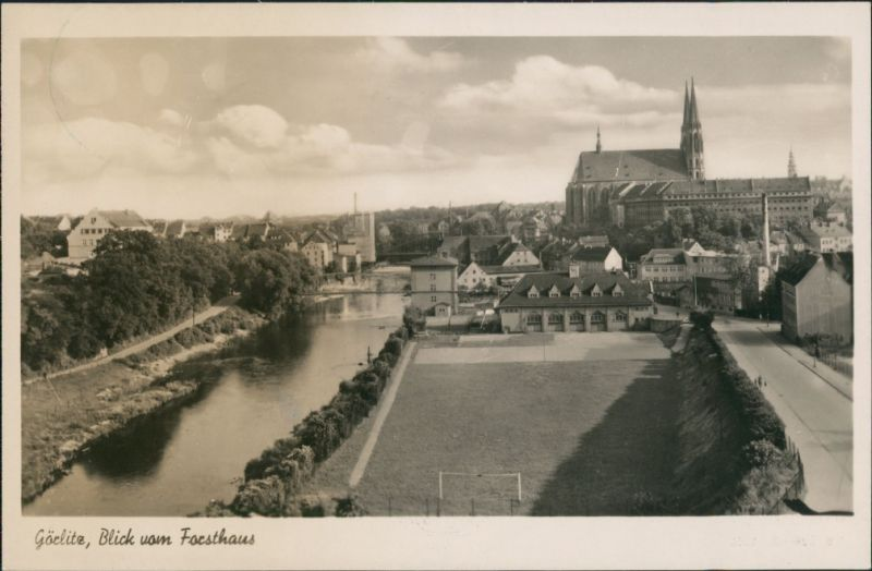 Görlitz Zgorzelec Blick vom Forsthaus Richtung Kirche Postkarte DDR 1950 0