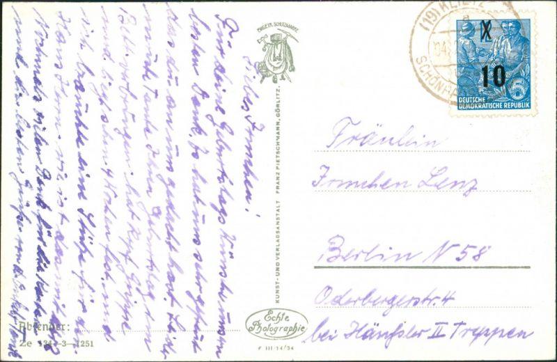 Görlitz Zgorzelec Blick vom Forsthaus Richtung Kirche Postkarte DDR 1950 1