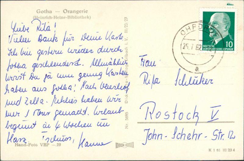 Gotha Orangerie-Schloss Heinrich Heine Bibliothek Postkarte DDR 1962 1