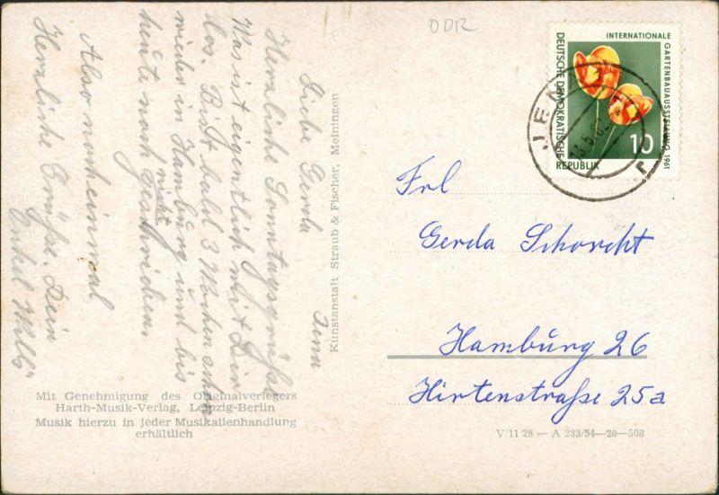 .Thüringen 2 Kinder Thüringer Wald, Liedtext, Musik, Duett DDR Postkarte 1962 1