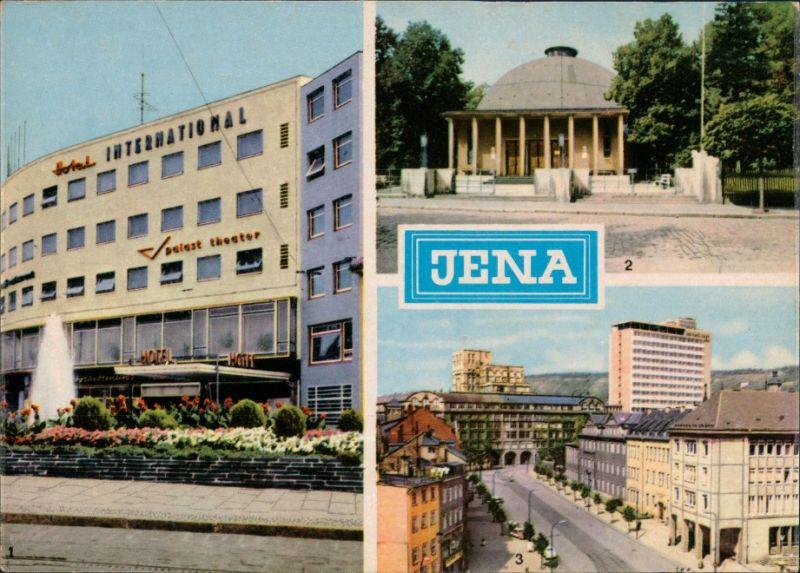 Jena DDR Mehrbild-AK Hotel International, Zeiss-Planetarium, Hochhaus 1967 0