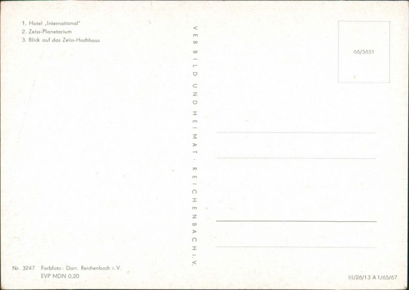 Jena DDR Mehrbild-AK Hotel International, Zeiss-Planetarium, Hochhaus 1967 1