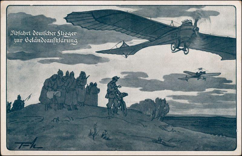 Militär 1.WK (Erster Weltkrieg) Abfahrt deutscher Flieger Geländeklärung 1918
