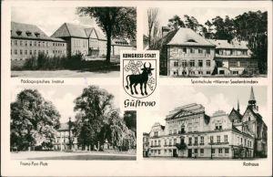 Güstrow DDR Mehrbild-AK Pädagogisches Institut,  s 1959