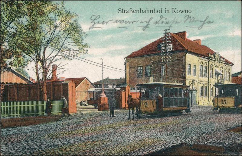 Kaunas Kowno (Коўна) Straßenbahn, Pferdebahn Bahnhof Lietuvos 1917