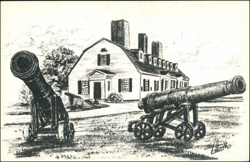 Annapolis Royal Fort Anne with Cannon/Fort Anne mit Kanonen Künstlerkarte 1970