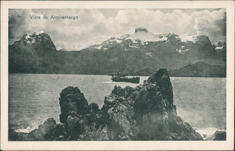 Almirantazgo Fjord (Feuerland, Chile, Argentinien) Vista de Almirantazgo Fjord/Rare Vintage Postcard Isla Grande de Tierra del Fuego 1930