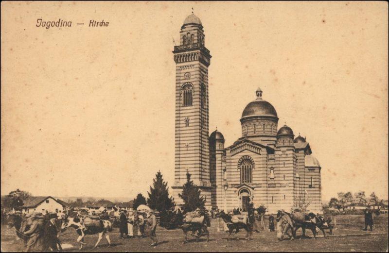 Postcard Jagodina Јагодина Partie an der Kirche - Viehmarkt 1914