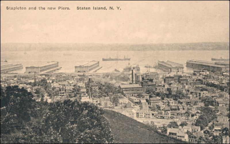 Postcard Staten Island Stapleton and the new Piers 1913