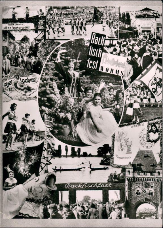 Ansichtskarte Worms Backfischfest - Mehrbild 1958