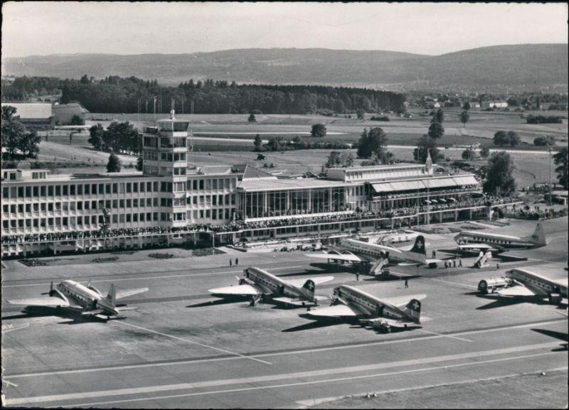 Ansichtskarte Kloten Zürich-Kloten Flughafen, Tower Flugzeuge 1962