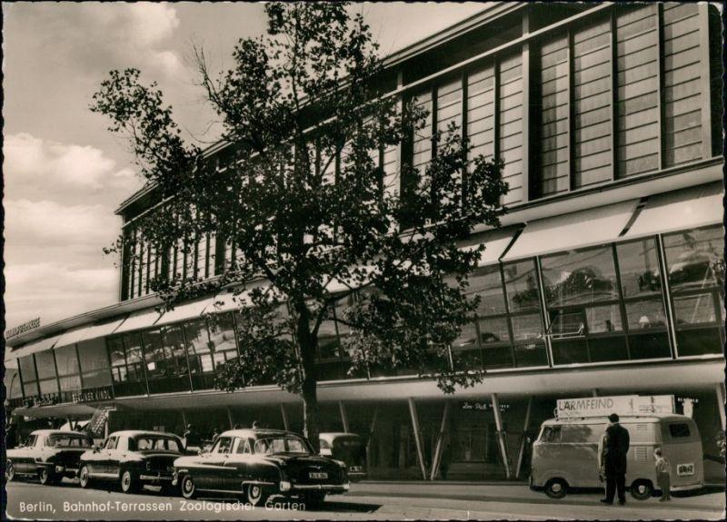Ansichtskarte Charlottenburg-Berlin Bahnhof Zoo Bahnhof Terrassen Autos 1958