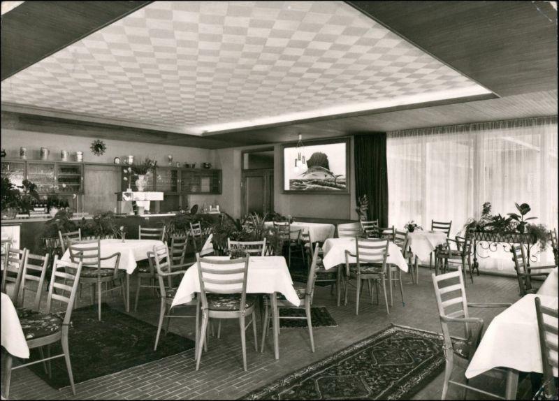 Ansichtskarte Bad Orb Gastraum Pension Hiller 1965