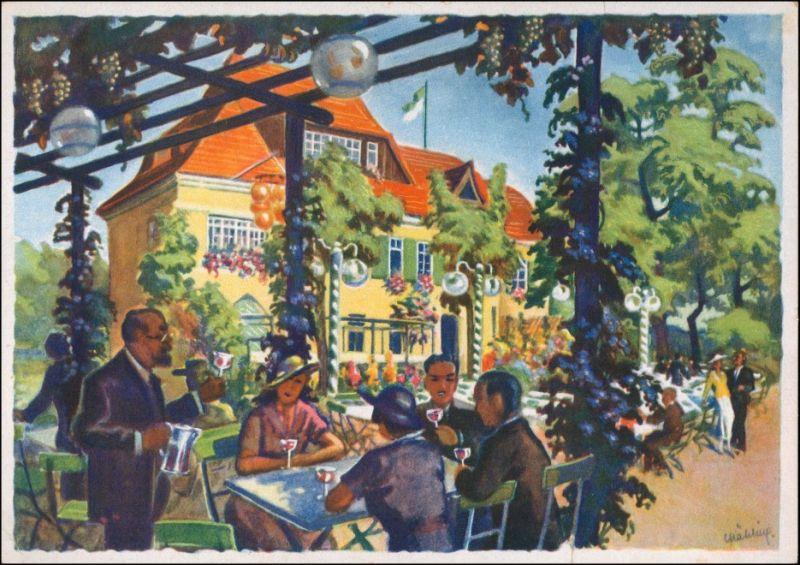 Ansichtskarte Meißen Künstlerkarte: Stadtparkhöhe Weinschank Gebhardt 1930