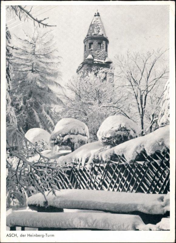 Postcard Asch Aš Der Heinberg Turm im Winter 1940